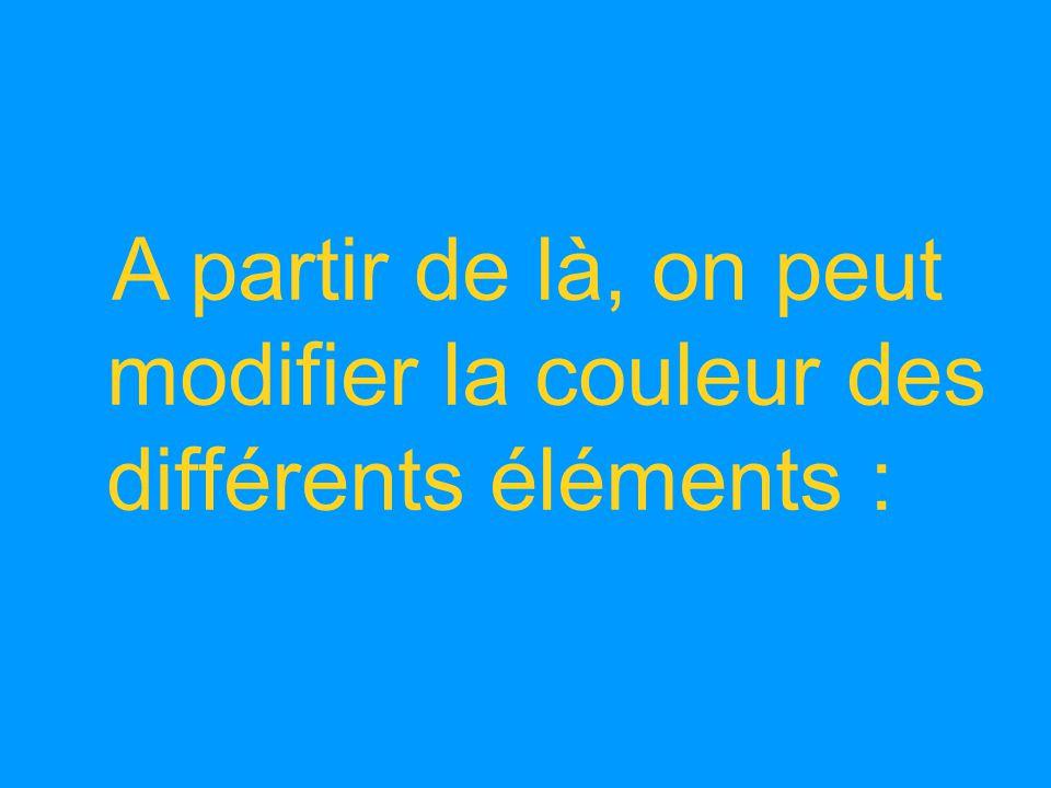 A partir de là, on peut modifier la couleur des différents éléments :