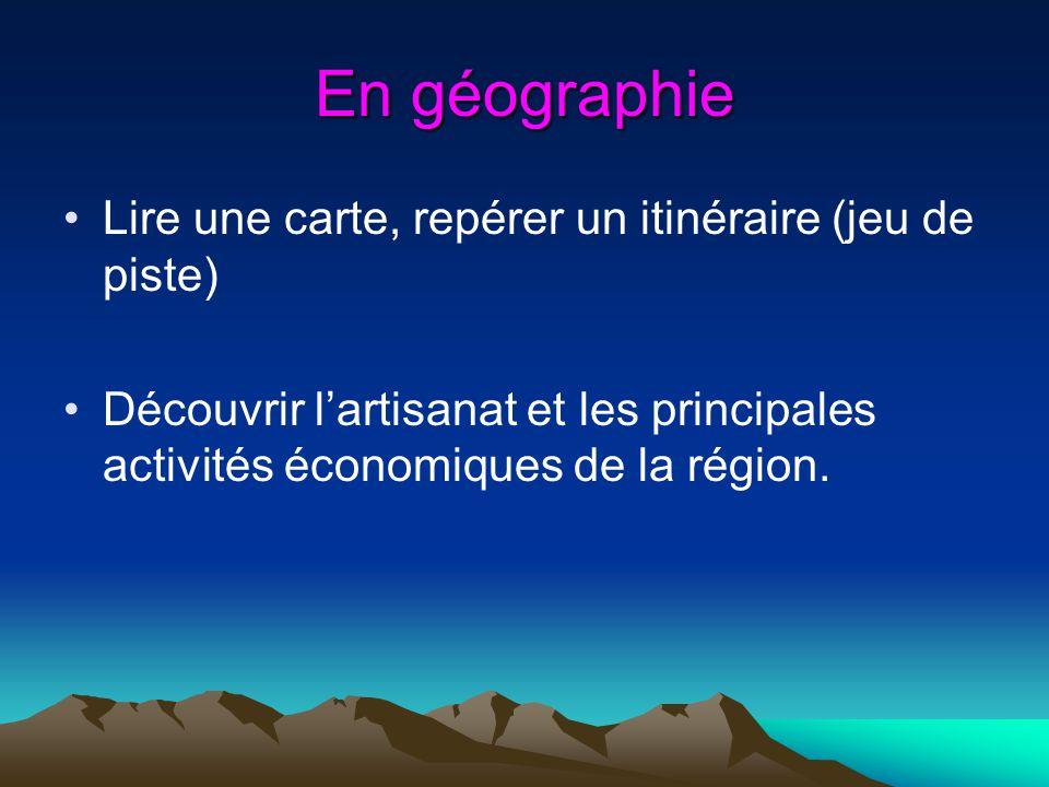 En géographie Lire une carte, repérer un itinéraire (jeu de piste)