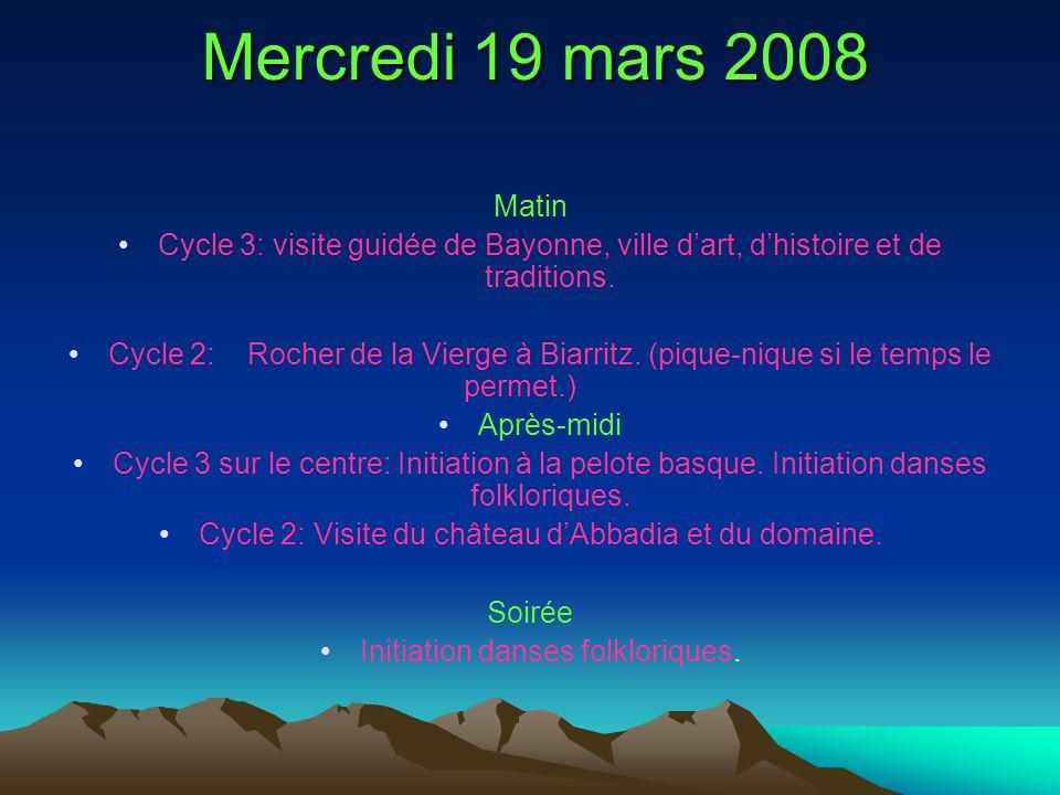 Mercredi 19 mars 2008 Matin. Cycle 3: visite guidée de Bayonne, ville d'art, d'histoire et de traditions.