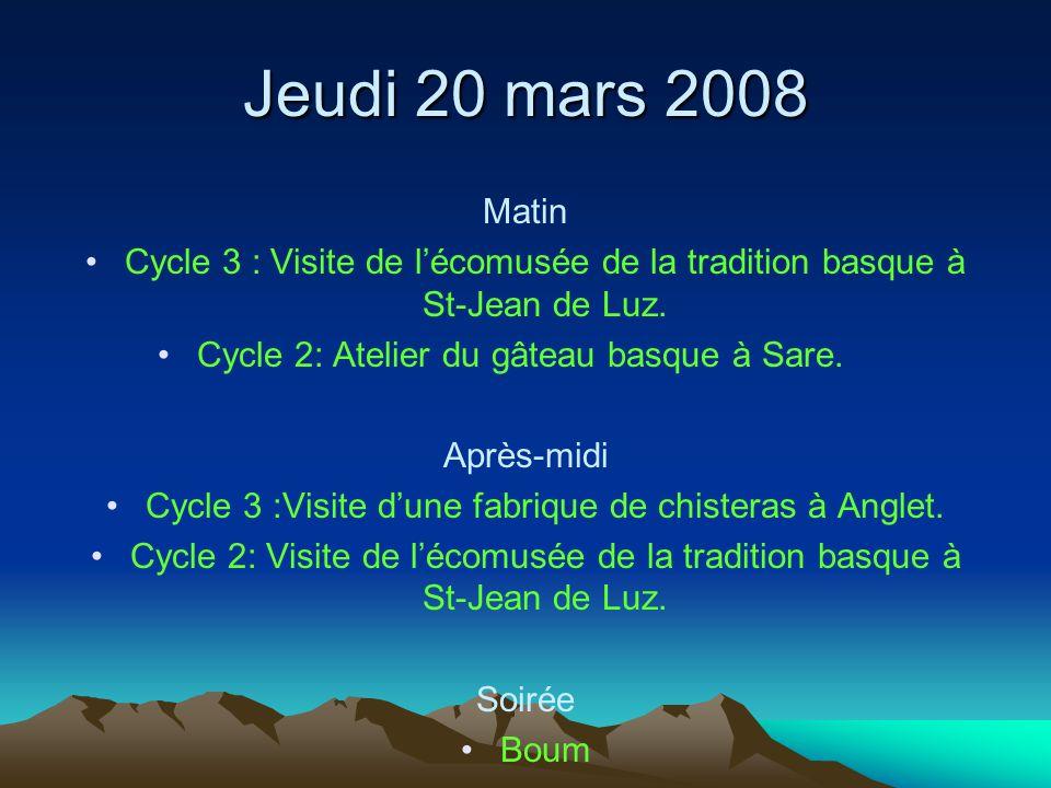 Jeudi 20 mars 2008 Matin. Cycle 3 : Visite de l'écomusée de la tradition basque à St-Jean de Luz. Cycle 2: Atelier du gâteau basque à Sare.