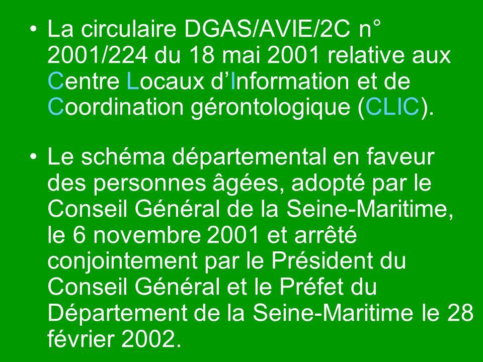 La circulaire DGAS/AVIE/2C n° 2001/224 du 18 mai 2001 relative aux Centre Locaux d'Information et de Coordination gérontologique (CLIC).