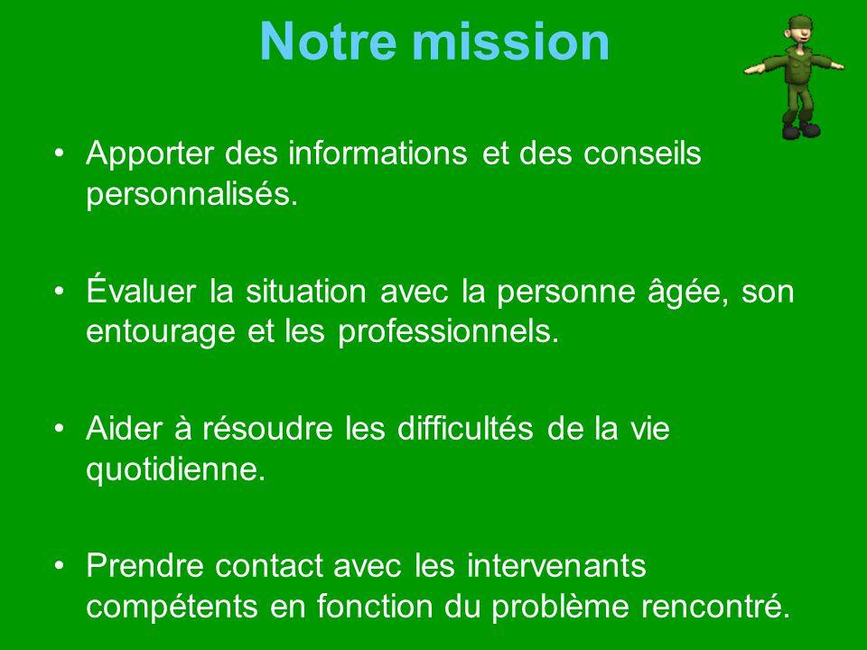 Notre mission Apporter des informations et des conseils personnalisés.
