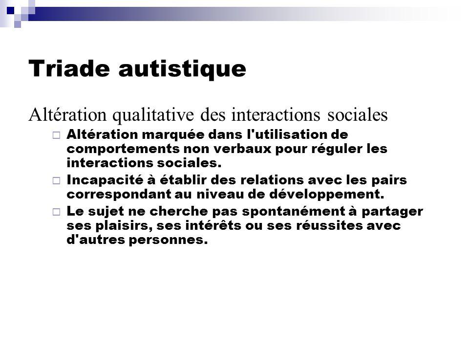Triade autistique Altération qualitative des interactions sociales