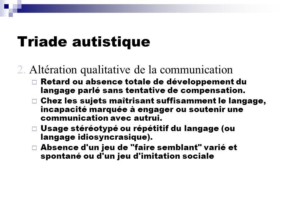 Triade autistique 2. Altération qualitative de la communication
