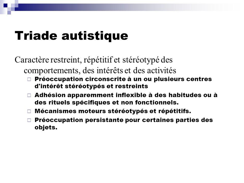 Triade autistique Caractère restreint, répétitif et stéréotypé des comportements, des intérêts et des activités.
