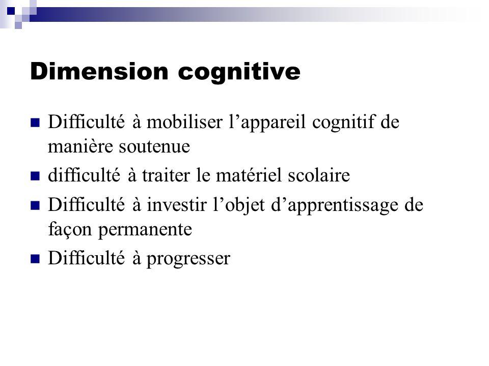 Dimension cognitive Difficulté à mobiliser l'appareil cognitif de manière soutenue. difficulté à traiter le matériel scolaire.