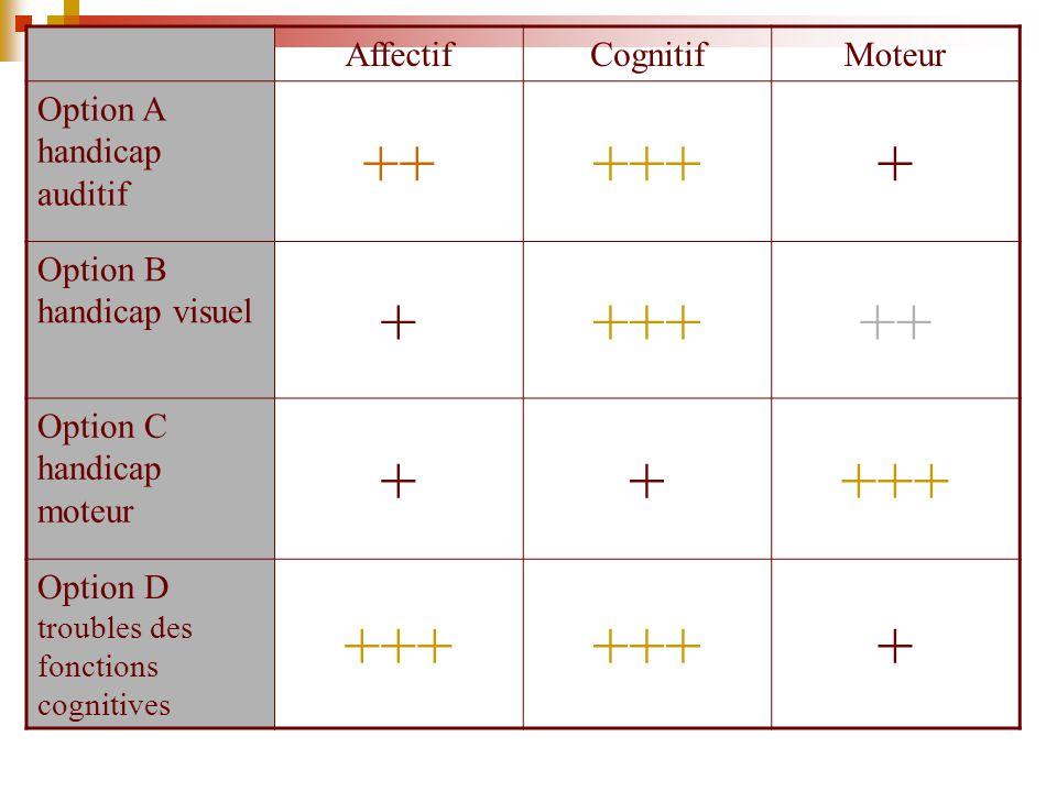 ++ +++ + Affectif Cognitif Moteur Option A handicap auditif