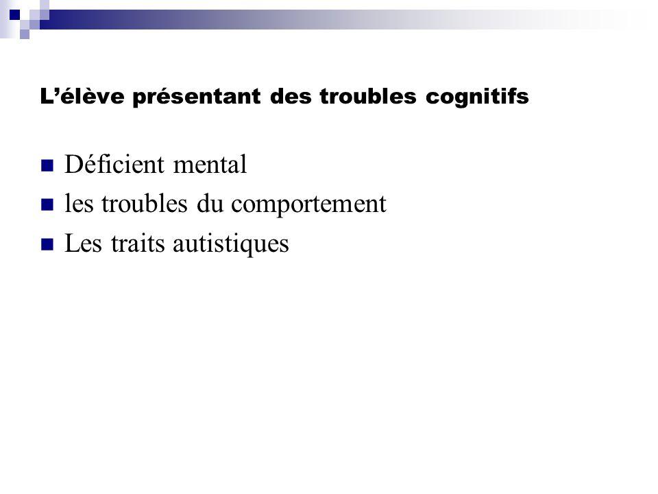 L'élève présentant des troubles cognitifs