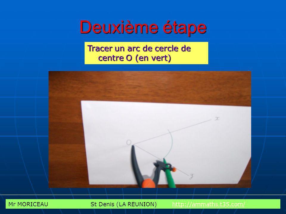 Deuxième étape Tracer un arc de cercle de centre O (en vert)