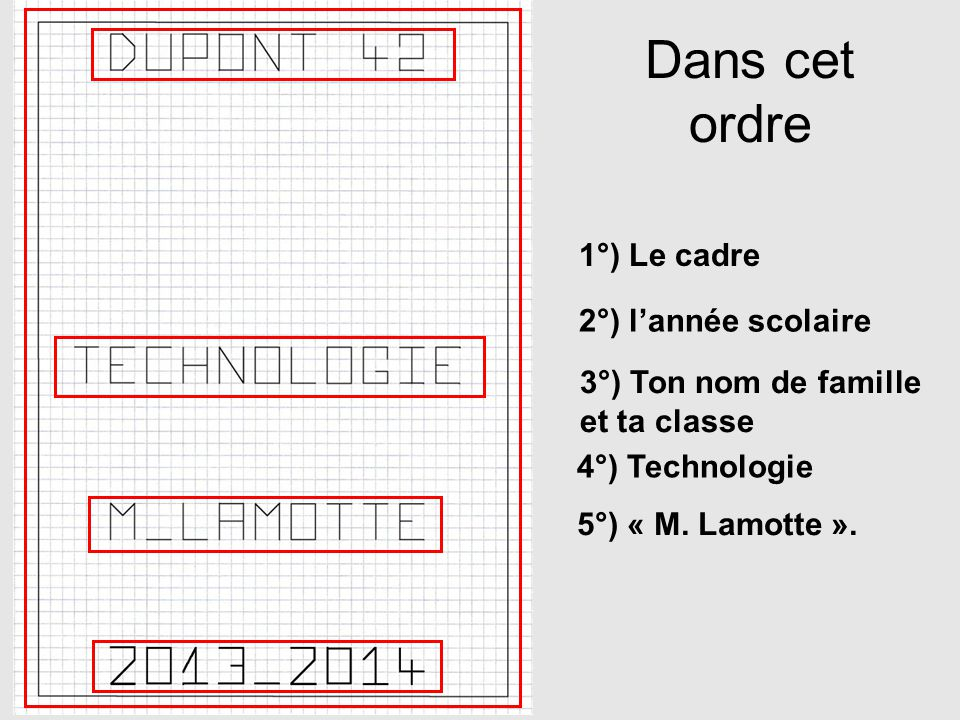 Dans cet ordre 1°) Le cadre 2°) l'année scolaire