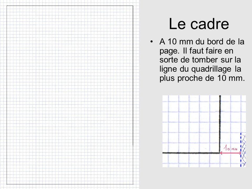 Le cadre A 10 mm du bord de la page.