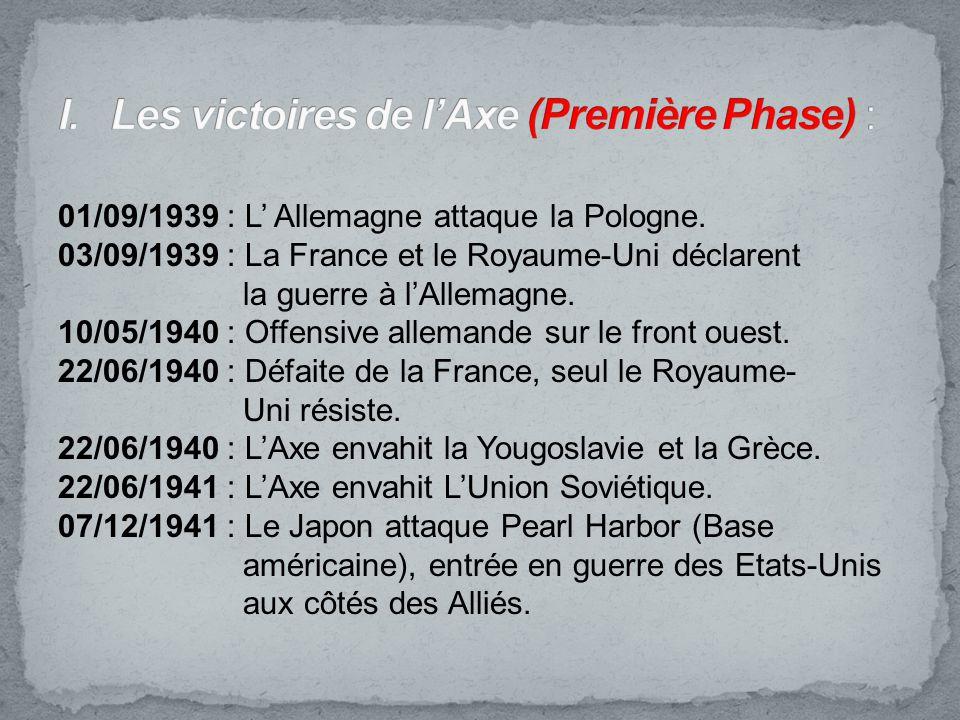 I. Les victoires de l'Axe (Première Phase) :