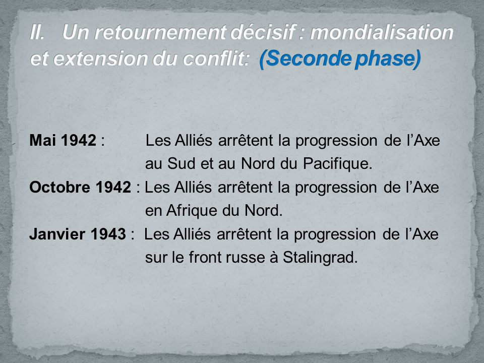 II. Un retournement décisif : mondialisation et extension du conflit: (Seconde phase)
