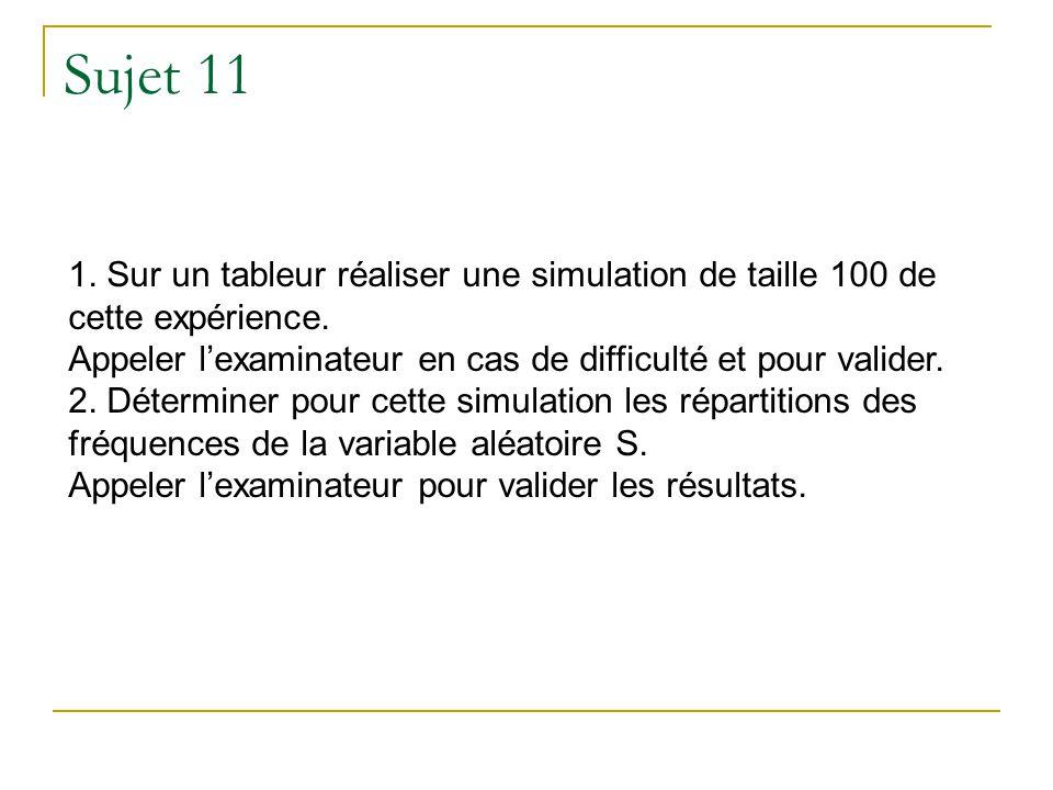 Sujet 11 1. Sur un tableur réaliser une simulation de taille 100 de cette expérience. Appeler l'examinateur en cas de difficulté et pour valider.