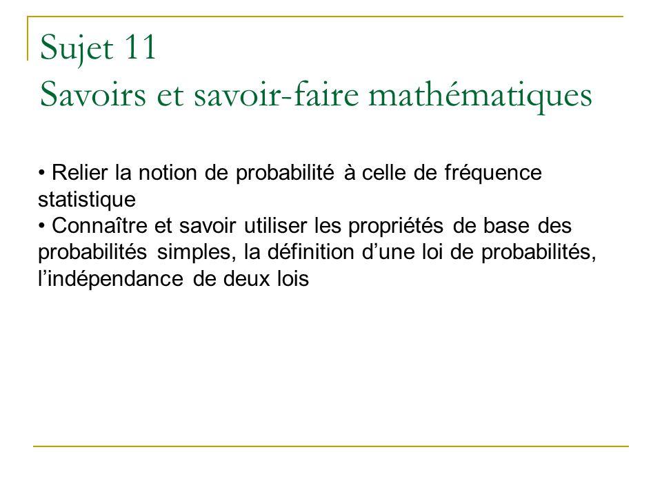 Sujet 11 Savoirs et savoir-faire mathématiques