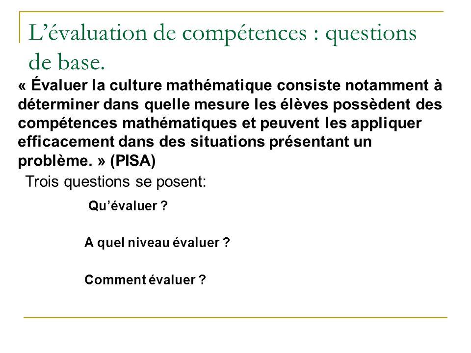 L'évaluation de compétences : questions de base.