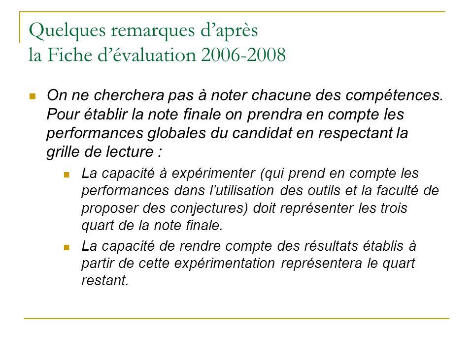Quelques remarques d'après la Fiche d'évaluation 2006-2008