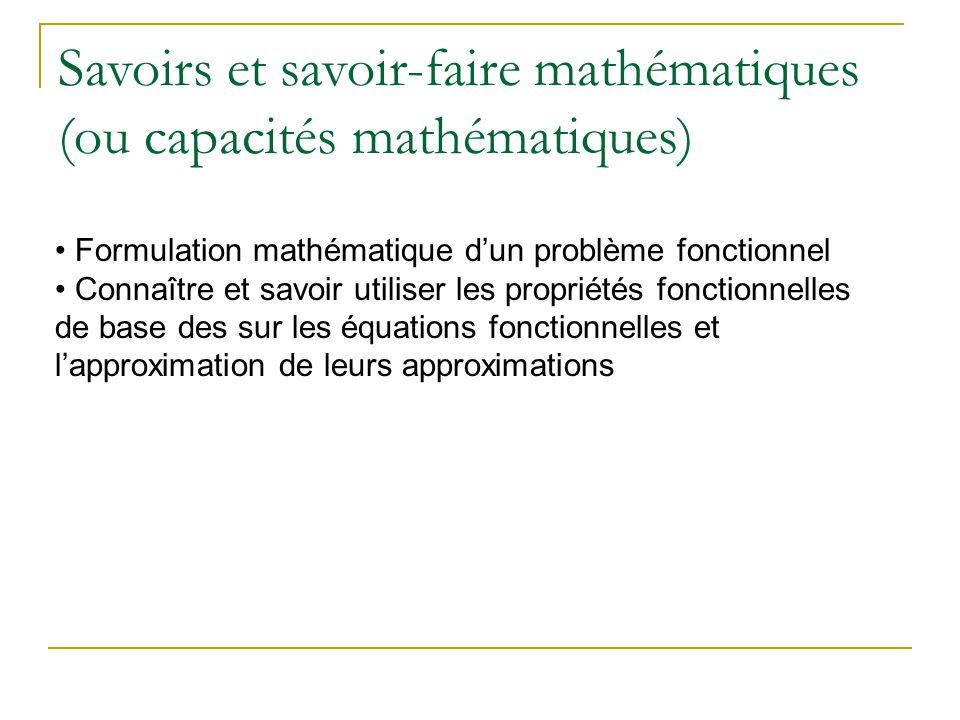 Savoirs et savoir-faire mathématiques (ou capacités mathématiques)