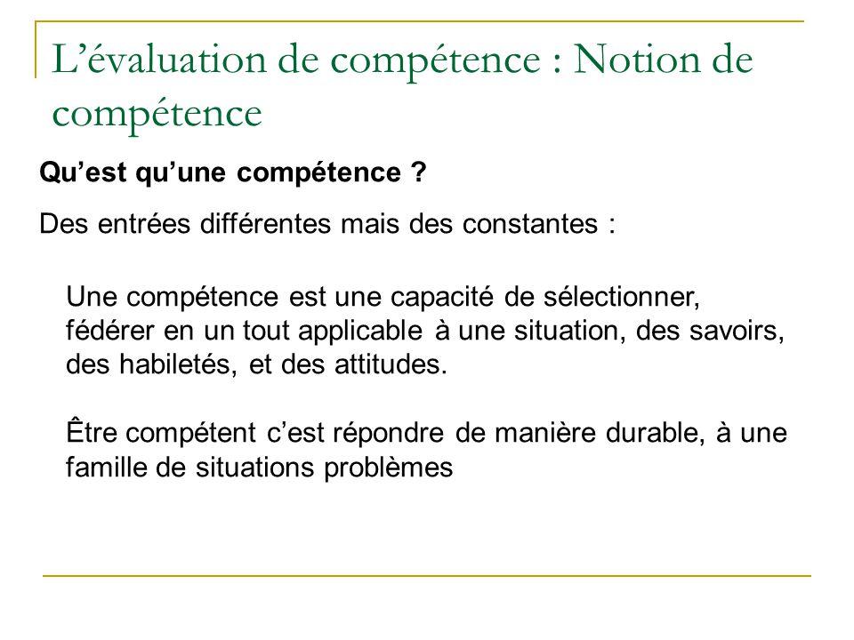 L'évaluation de compétence : Notion de compétence