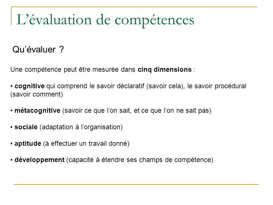 L'évaluation de compétences