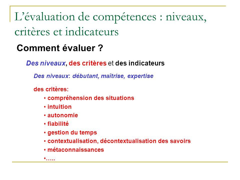 L'évaluation de compétences : niveaux, critères et indicateurs