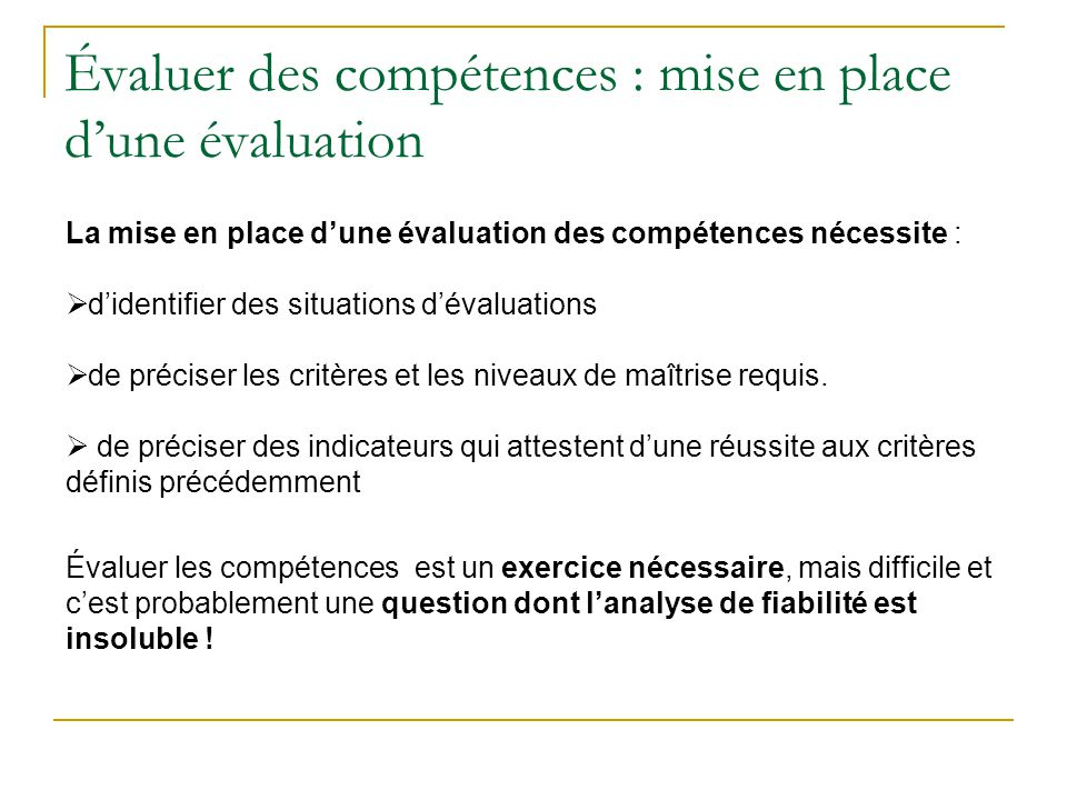 Évaluer des compétences : mise en place d'une évaluation