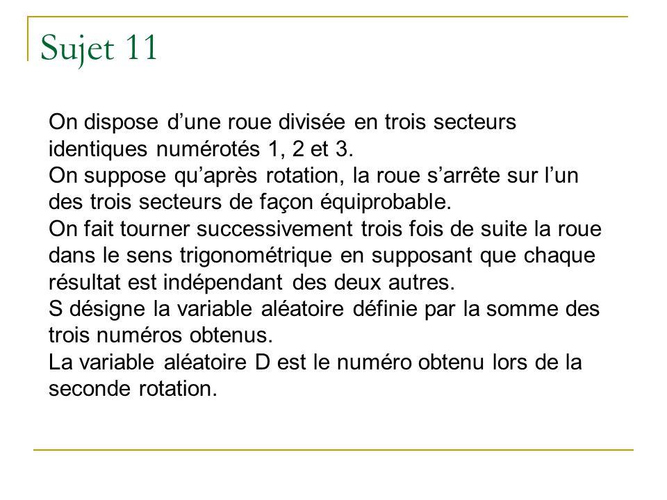 Sujet 11 On dispose d'une roue divisée en trois secteurs identiques numérotés 1, 2 et 3.