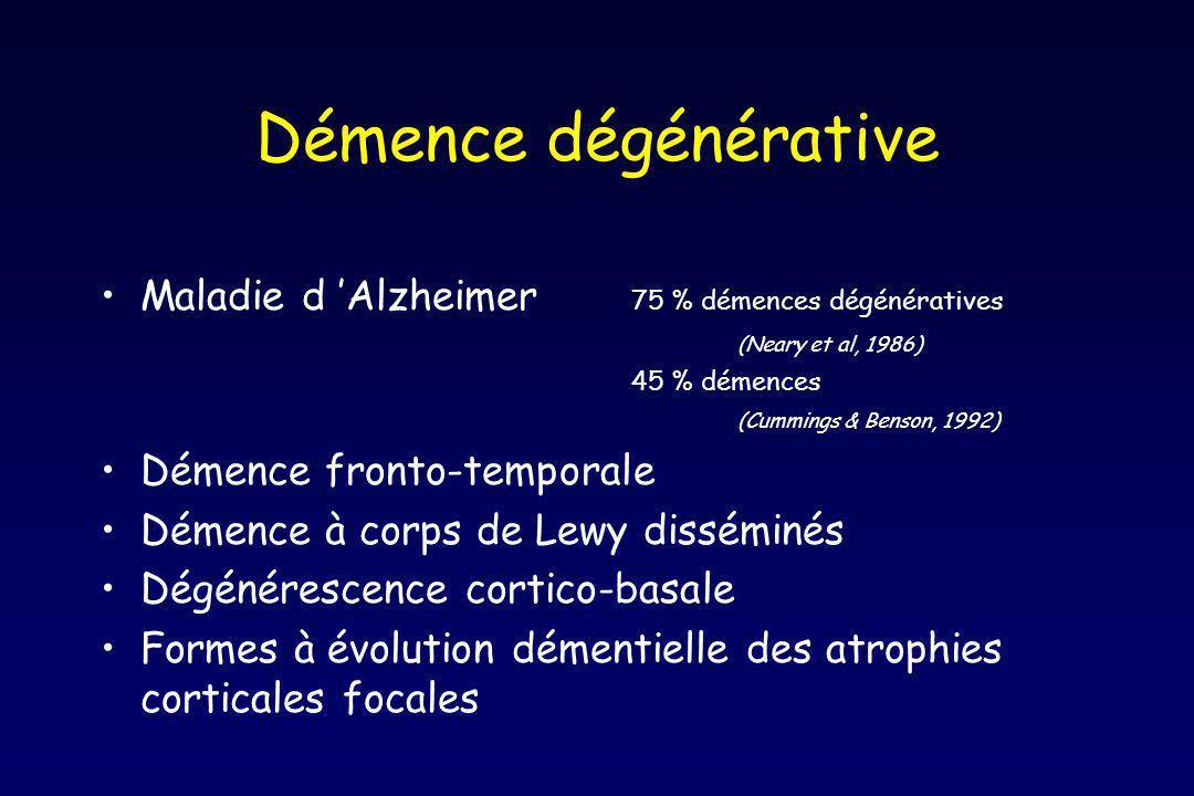 Démence dégénérative Maladie d 'Alzheimer 75 % démences dégénératives