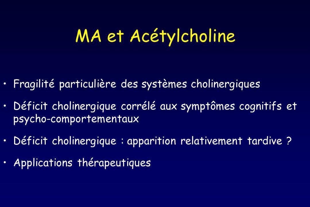 MA et Acétylcholine Fragilité particulière des systèmes cholinergiques