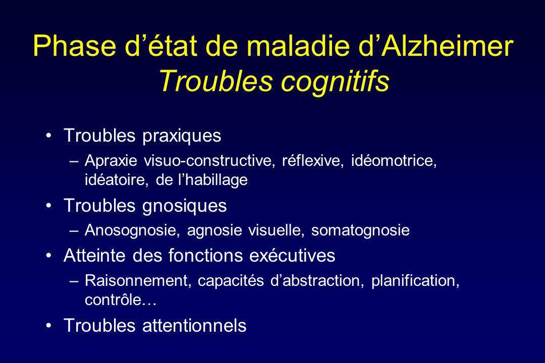 Phase d'état de maladie d'Alzheimer Troubles cognitifs