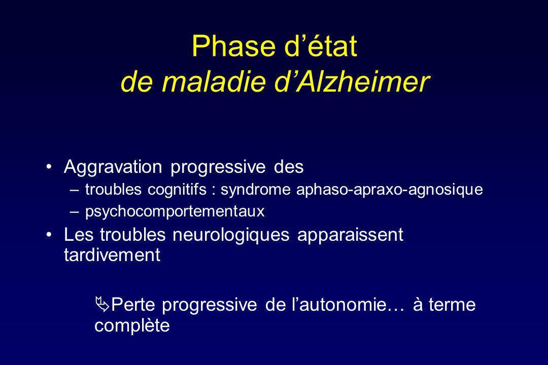 Phase d'état de maladie d'Alzheimer