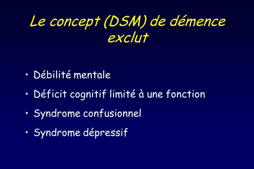 Le concept (DSM) de démence exclut