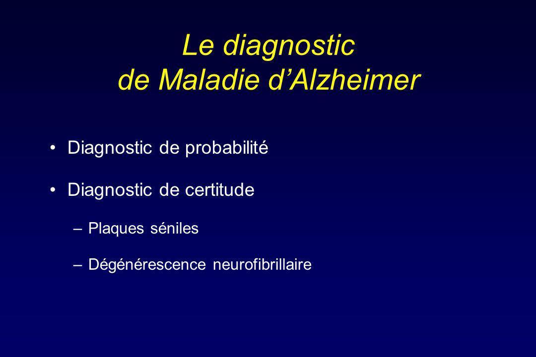Le diagnostic de Maladie d'Alzheimer