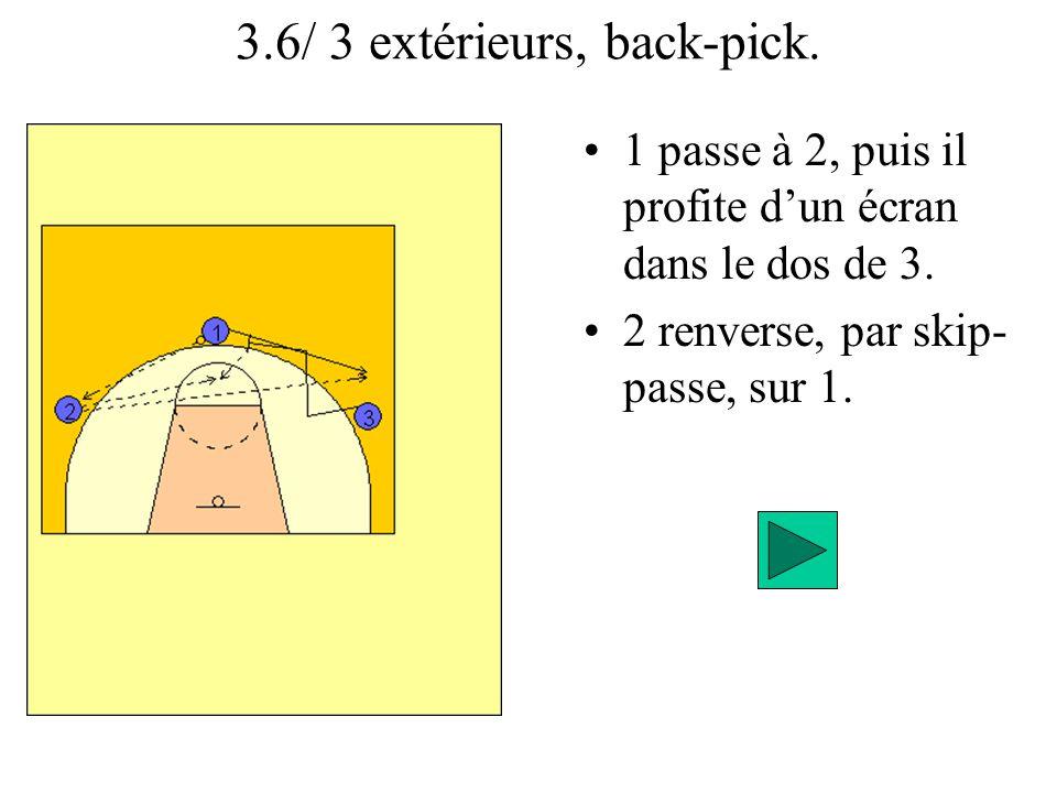 3.6/ 3 extérieurs, back-pick.