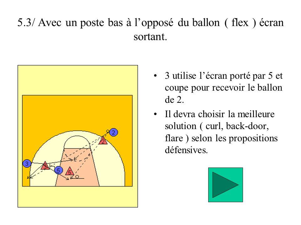 5.3/ Avec un poste bas à l'opposé du ballon ( flex ) écran sortant.