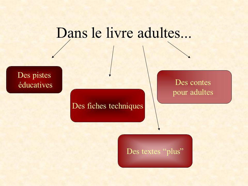 Dans le livre adultes... Des pistes éducatives Des contes pour adultes