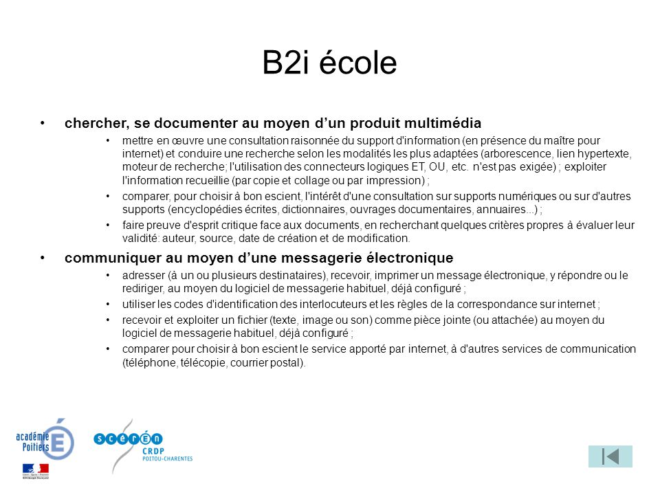 B2i école chercher, se documenter au moyen d'un produit multimédia