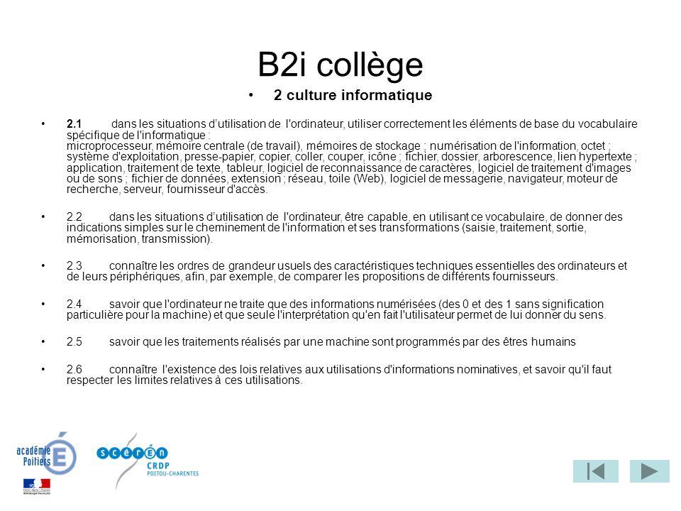 B2i collège 2 culture informatique
