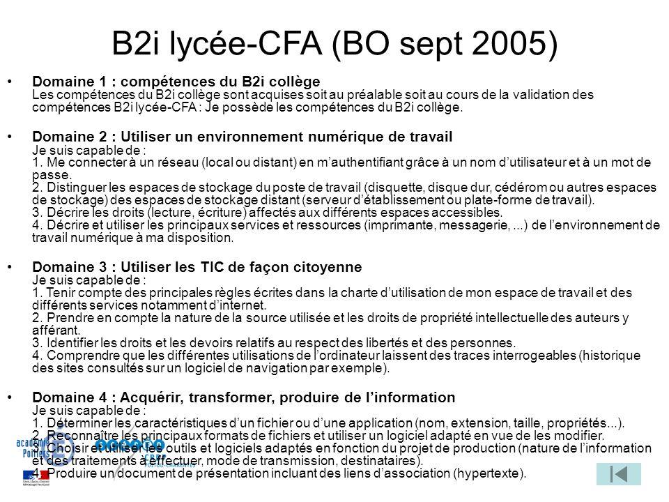 B2i lycée-CFA (BO sept 2005)