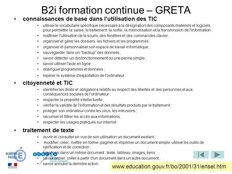 B2i formation continue – GRETA