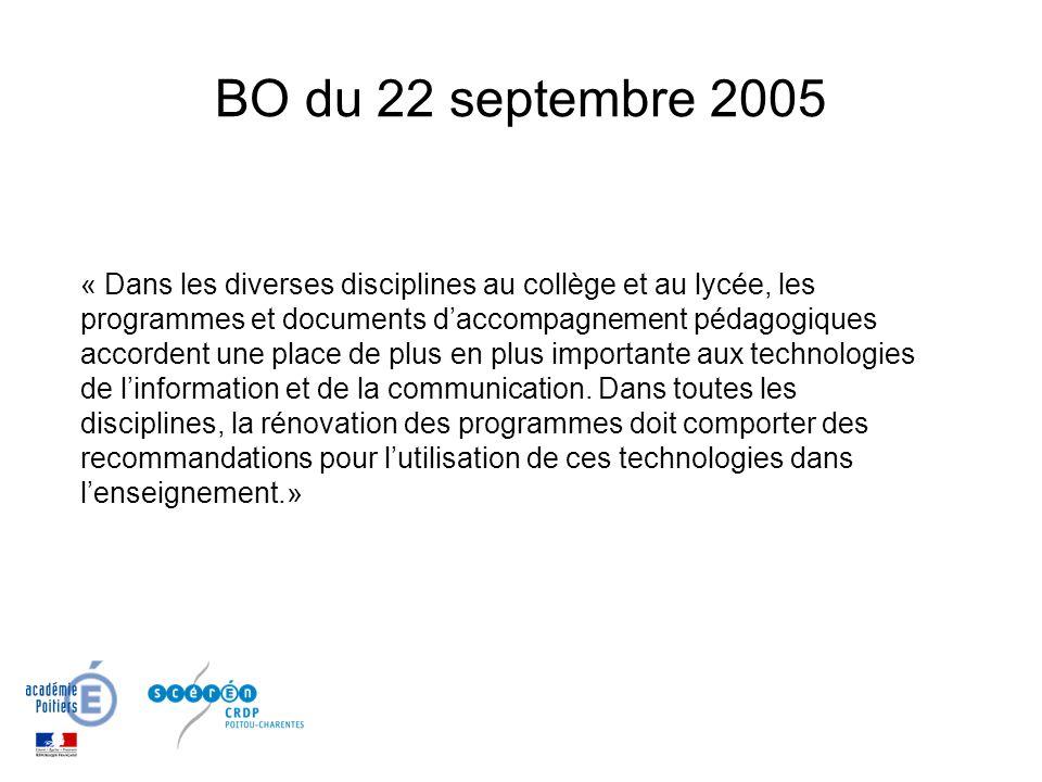 BO du 22 septembre 2005