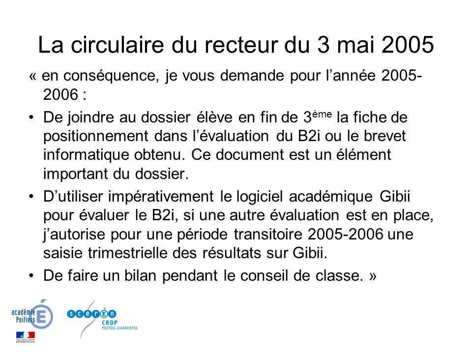 La circulaire du recteur du 3 mai 2005