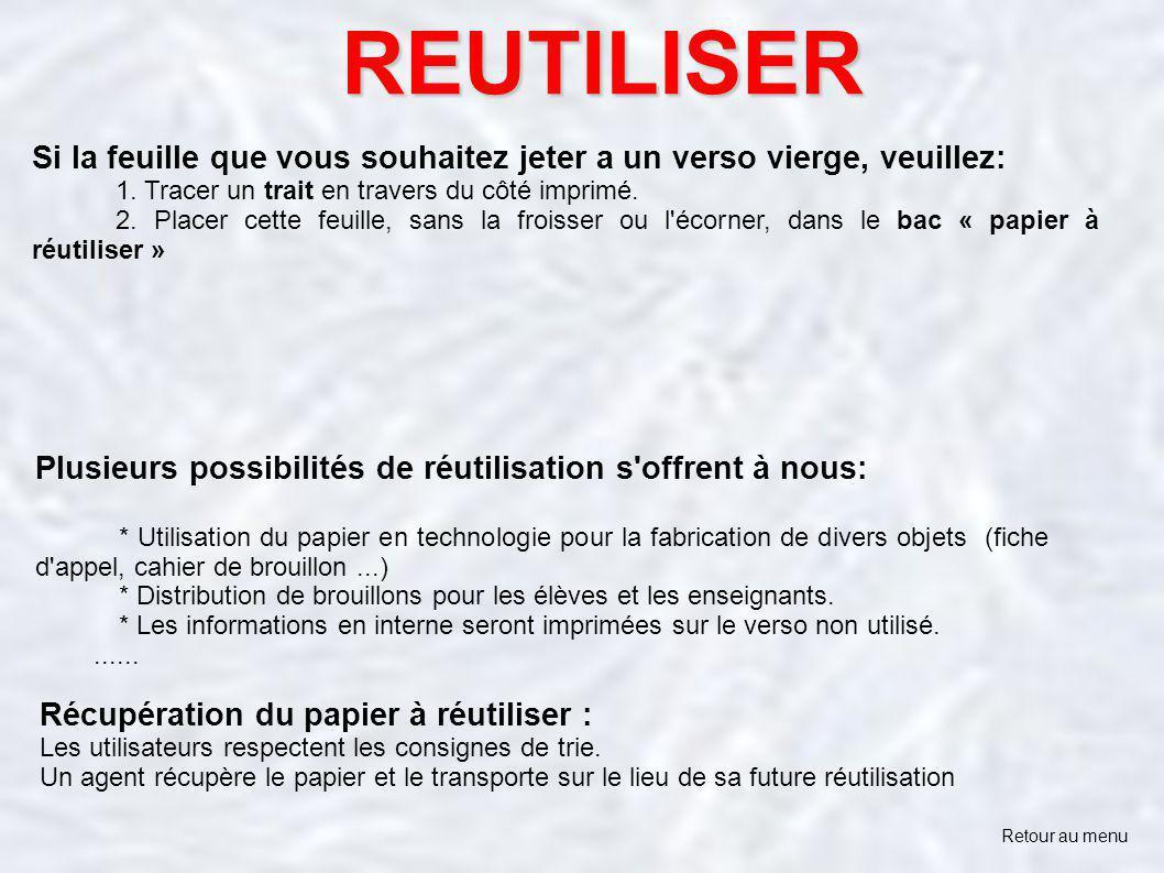REUTILISER Si la feuille que vous souhaitez jeter a un verso vierge, veuillez: 1. Tracer un trait en travers du côté imprimé.