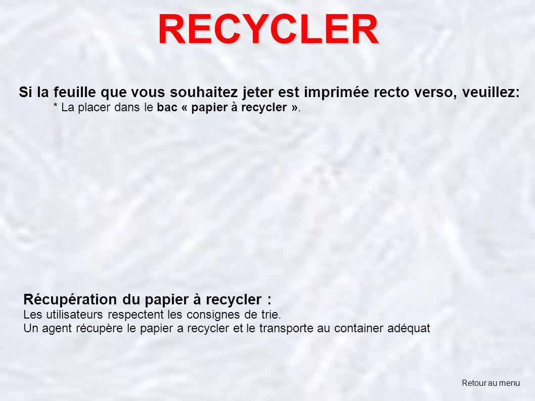 RECYCLER Si la feuille que vous souhaitez jeter est imprimée recto verso, veuillez: * La placer dans le bac « papier à recycler ».