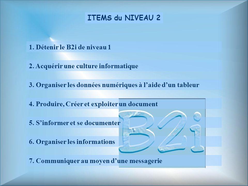 ITEMS du NIVEAU 2 1. Détenir le B2i de niveau 1. 2. Acquérir une culture informatique. 3. Organiser les données numériques à l'aide d'un tableur.