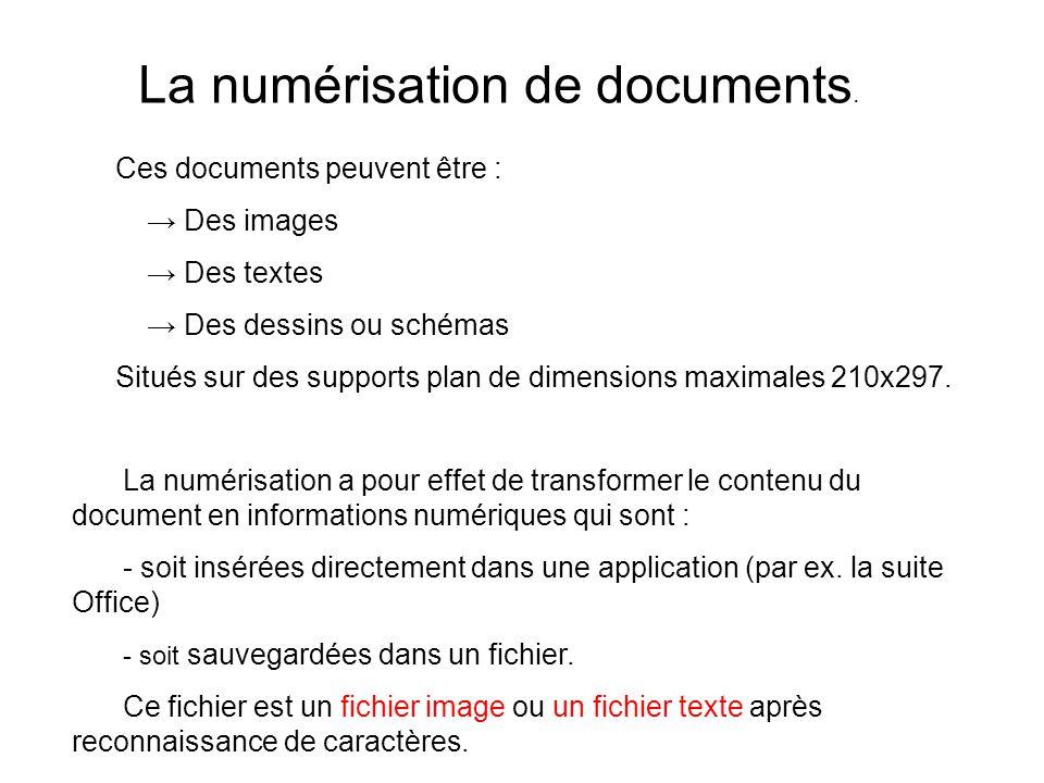 La numérisation de documents.