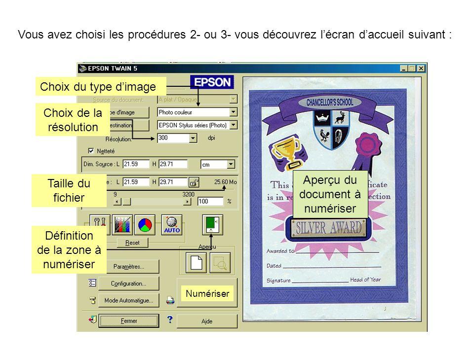Aperçu du document à numériser Taille du fichier