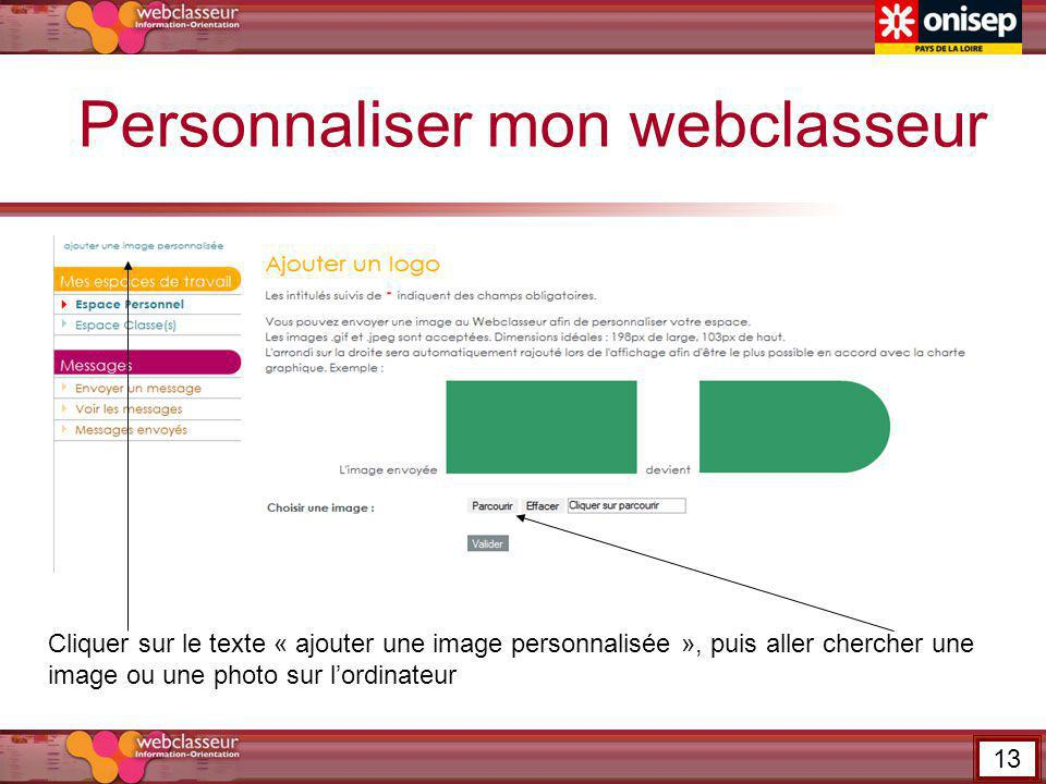 Personnaliser mon webclasseur