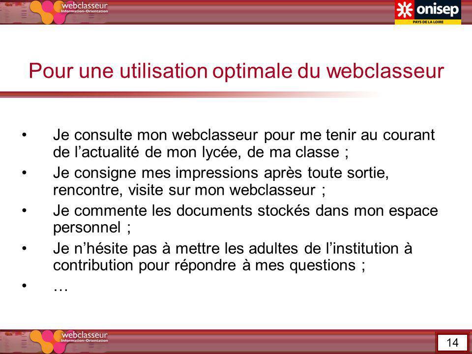Pour une utilisation optimale du webclasseur