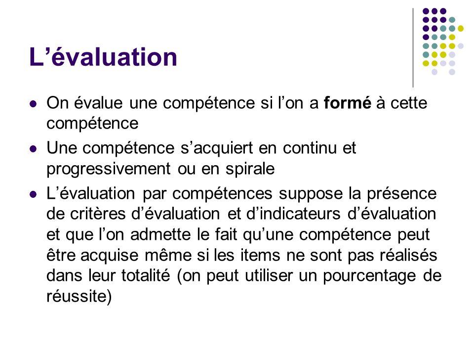 L'évaluation On évalue une compétence si l'on a formé à cette compétence. Une compétence s'acquiert en continu et progressivement ou en spirale.
